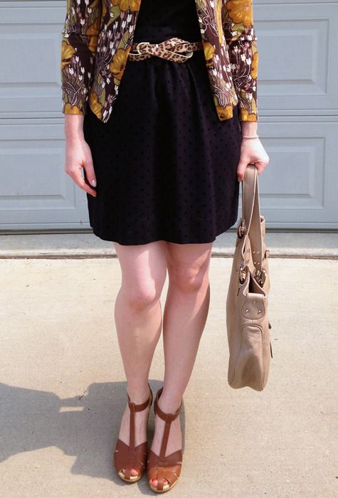 LOFT floral cardigan; Old Navy clogs sandals; Marc Jacobs Stella