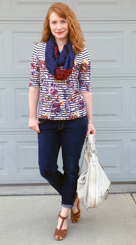 J. Crew striped floral top; Levi's demi curve cropped jeans; Old navy clogs; Marc Jacobs Courtney hobo