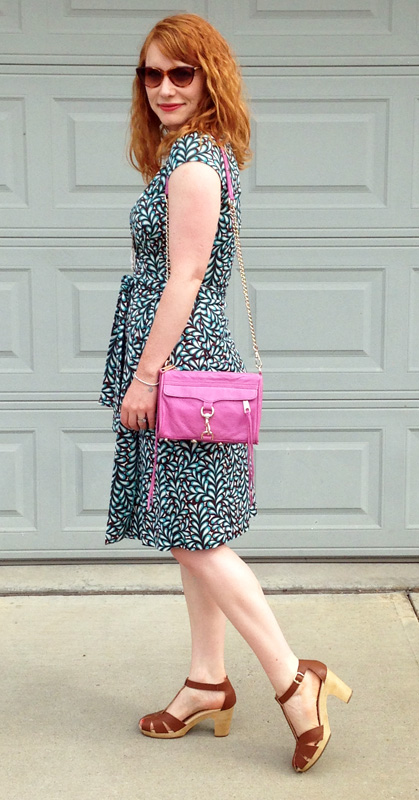 DVF Racing Leaf Kye wrap dress; old navy clog sandals; rebecca minkoff Mini MAC pink iris