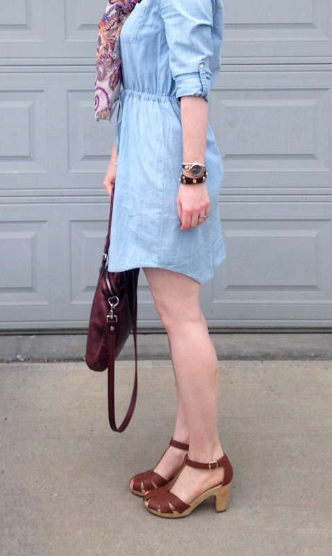 Old navy chambray dress; old navy clog sandals