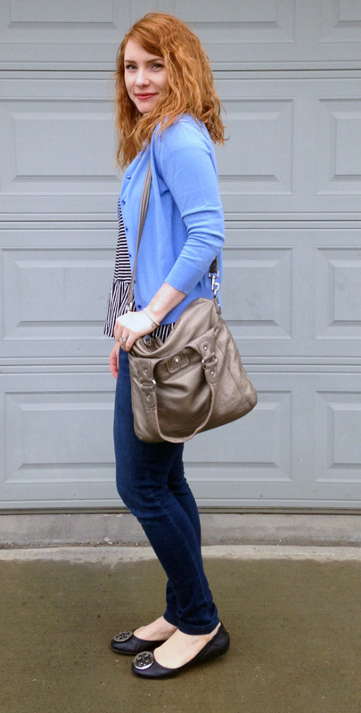 Gap striped peplum top; Marc Jacobs Mag bag