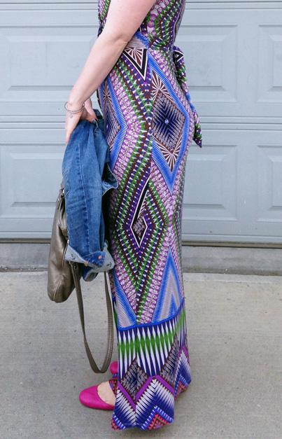 Geometric print maxi dress; Marc Jacobs Mag bag; J. Crew hot pink Cece flats
