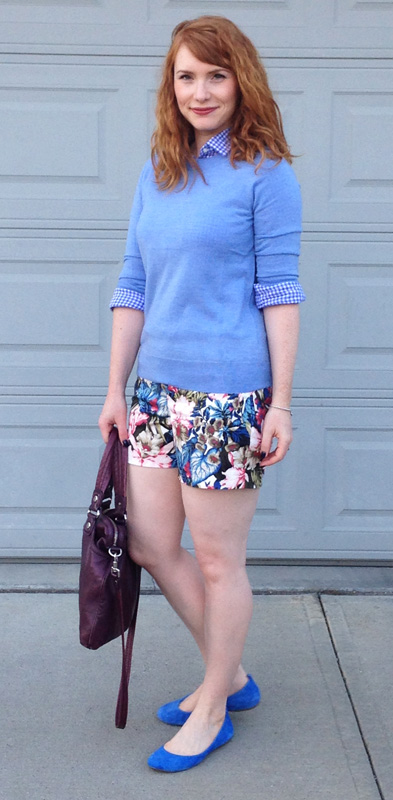 J. Crew Factory floral shorts; Marc Jacobs Mag bag; J. Crew Factory Anya flats