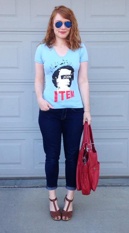 thinkITEM t-shirt; Old Navy clogs; Marc Jacobs Turnlock Teri