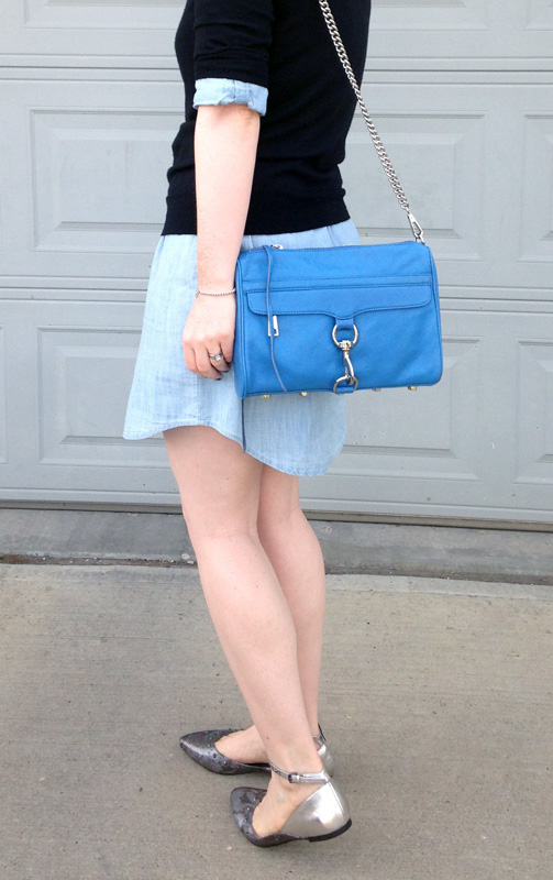 Old Navy chambray dress; G by Guess metallic strap flats; Rebecca Minkoff MAC cerulean