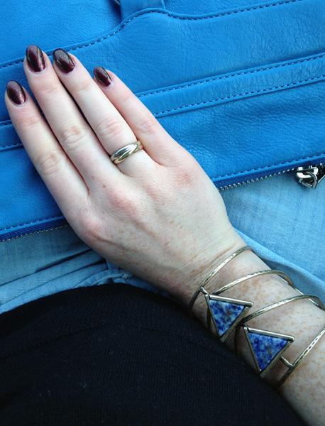 Free People blue stone cuff; Rebecca Minkoff MAC cerulean