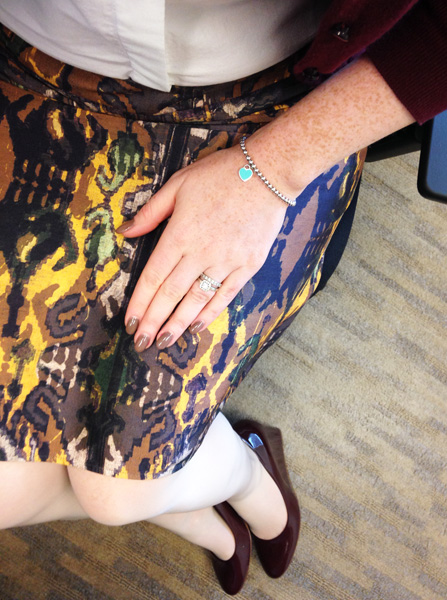 Boss ikat print skirt; J. Crew Martina cabernet wedges; Mulberry Fitzrovia bag