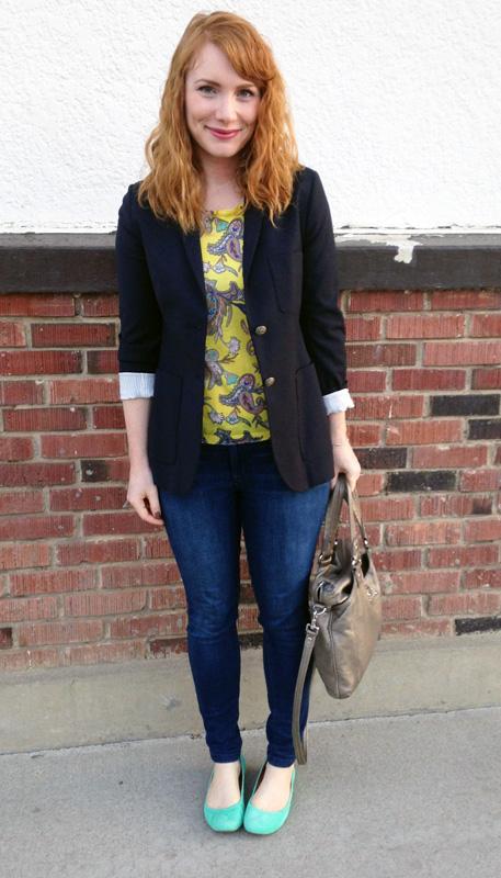 LOFT paisley knit t-shirt; Talula Exeter blazer