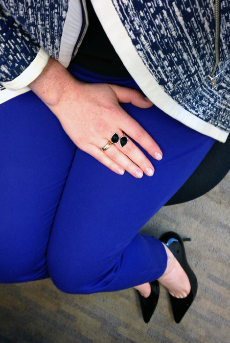 Yoana Baraschi indigo night moto jacket; J. Crew blue Minnie pants