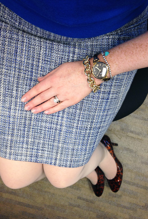J. Crew blue tweed pencil skirt; J. Crew Factory jewel collar oxford shell; Fossil Georgia tortoiseshell watch