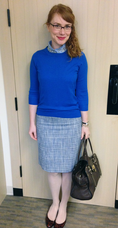 J. Crew blue tweed pencil skirt; J. Crew Factory jewel collar oxford shell; Mulberry Fitzrovia bag
