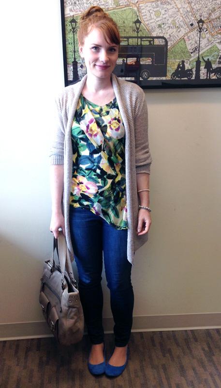 Deletta Alstroemeria floral top; Marc Jacobs Stella bag