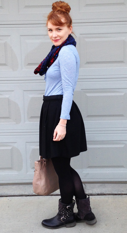 blue stripe top; moto boots; french chic