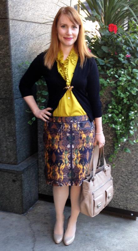 Boss ikat print skirt; J. Crew chartreuse  ruffle blouse
