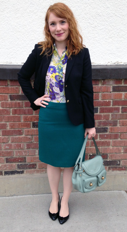J. Crew green pencil skirt; Zara blue floral blouse; Marc Jacobs Kirsten bag