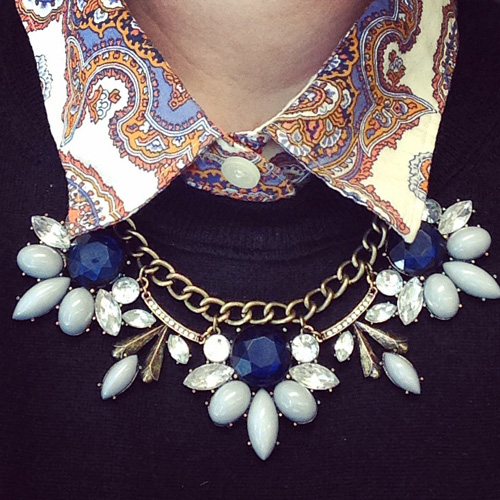 blue flower fan J. Crew factory necklace