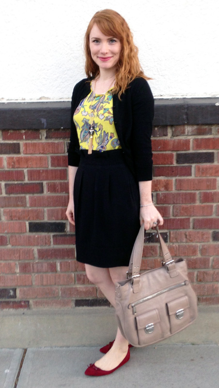 BCBG paperbag waist skirt; LOFT yellow floral paisley top