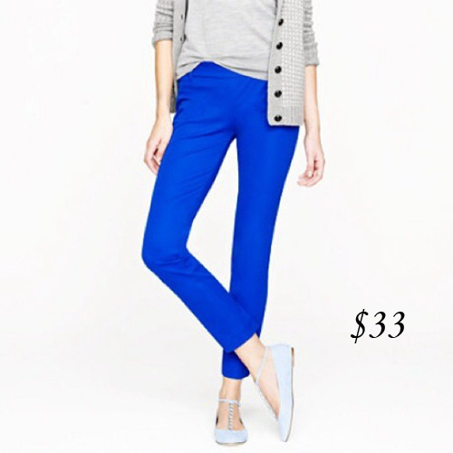 J. Crew Minnie Twill Pants (byzantine blue)