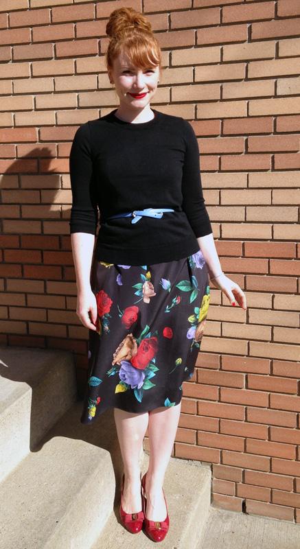 Love Moschino floral dress; Ferragamo red Flavia pumps