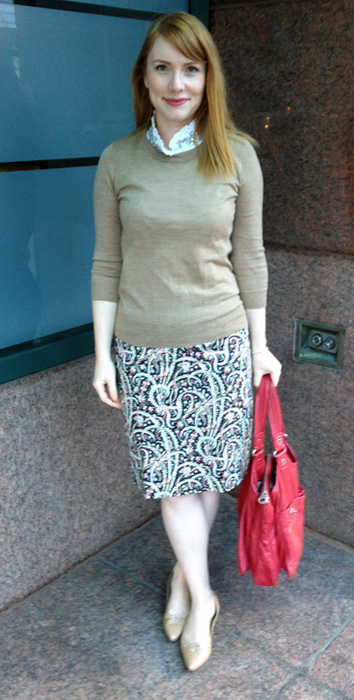 J. Crew Factory feathered paisley pencil skirt
