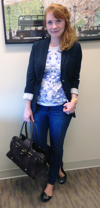 Mulberry Fitzrovia bag; Talula navy blazer; J. Crew mirrored floral t-shirt