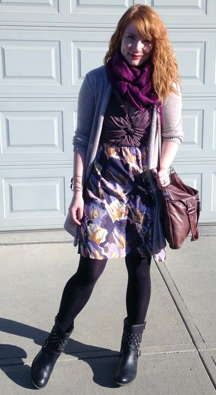 Lilka knot dress; Lilka purple print dress
