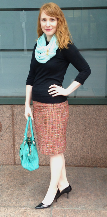 wearing scarf to work; spearmint Marc Jacobs Blake bag; wearing scarf as necklace