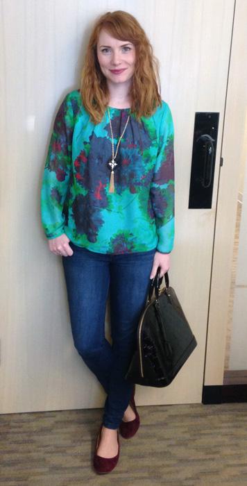 J. CRew hothouse floral blouse; Louis Vuitton vernis Alma Amarante