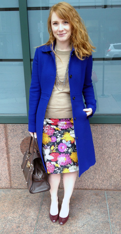 J. Crew Lady Day cobalt coat; Mulbery Fitzrovia bag