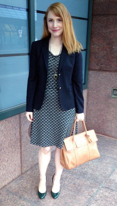 Max Studio waffle knit dress; J Crew schoolboy blazer