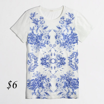 J. Crew Mirrored Floral Graphic Tee