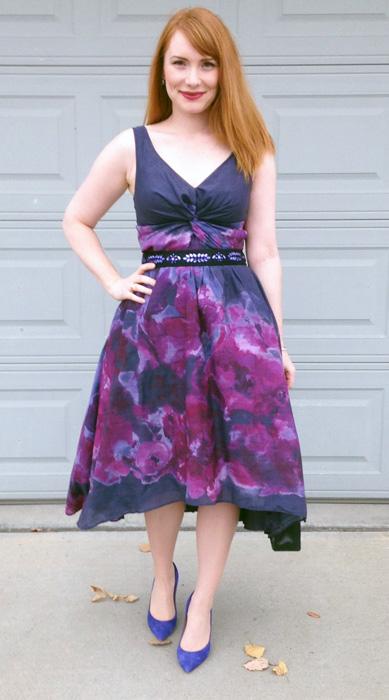 Lela Rose for Target dress; J. Crew Everly blue pumps