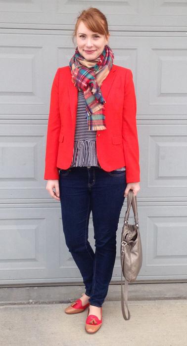 J. Crew orange schoolboy blazer; Target plaid blanket scarf