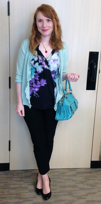 Elie Tahari abstract floral top; Marc Jacobs Blake spearmint