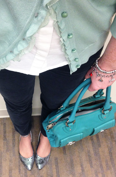 Marc Jacobs Blake spearmint; Adriano Goldschmied Stevie cropped ankle cords