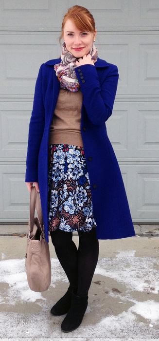 J. Crew Lady Day cobalt coat; Anthropologie Meadow Rue Batik dress
