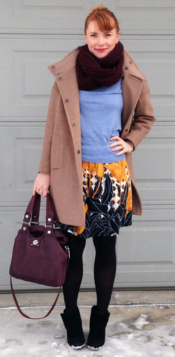 Anthropologie Edme Esyllte Tulip Perspective skirt; Marc Jacobs Mag bag