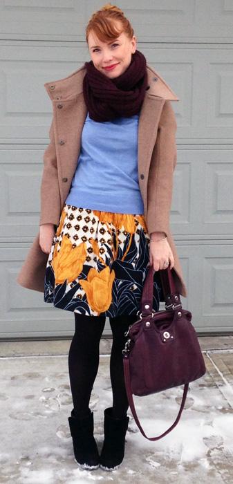 Anthropologie Edme Esyllte Tulip Perspective skirt; Marc Jacobs Mag bag; MaxMara Ragni coat
