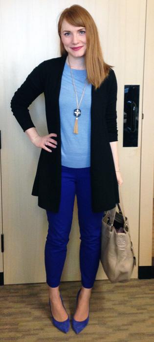 J. Crew Minnie byzantine blue pants; J. Crew Everly blue pumps