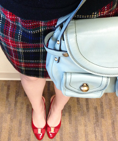 Ports 1961 plaid pencil skirt; plaid pencil skirt; Marc Jacobs Kirsten bag; ferragamo Flavia red pumps