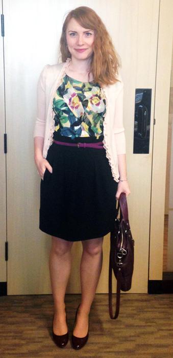 Deletta Alstroemeria top; BCBG paperbag waist skirt