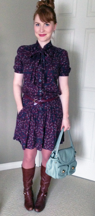Marc Jacobs purple floral dress; Marc Jacobs Kirsten bag; MaxMara Ragni coat