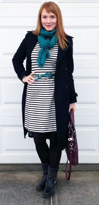 Old Navy striped dress; Joseph Seibel Sandra 10 boots