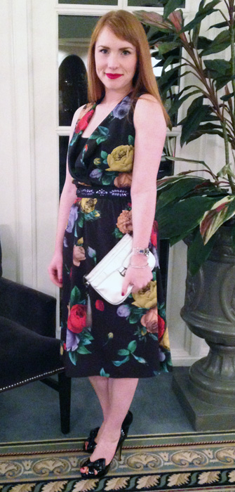 Moschino floral dress; Valentino half bow peep toe pumps