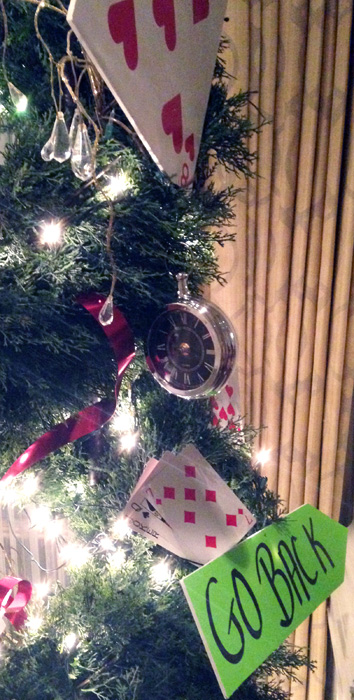 alice in wonderland party; christmas party decor