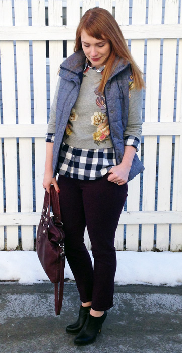 J. Crew Dutch floral cropped sweatshirt; Old Navy buffalo plaid shirt