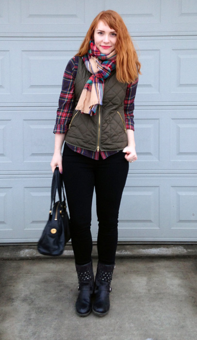 J. Crew plaid shirt; Old navy khaki vest