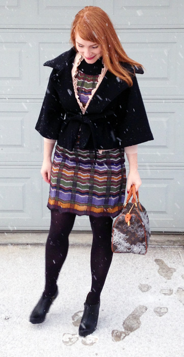 Missoni knit dress; Louis Vuitton Dentelle Speedy