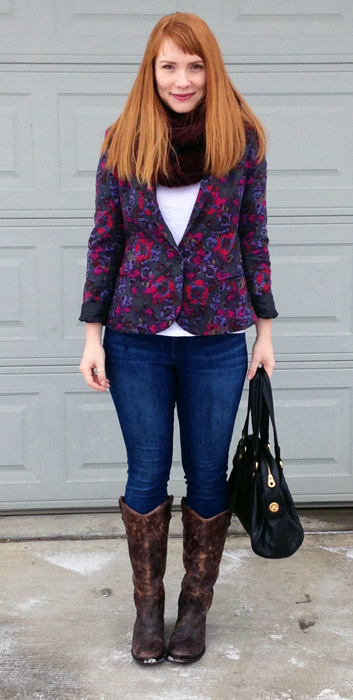 Silence & Noise floral blazer; Frye distressed Melissa button boots