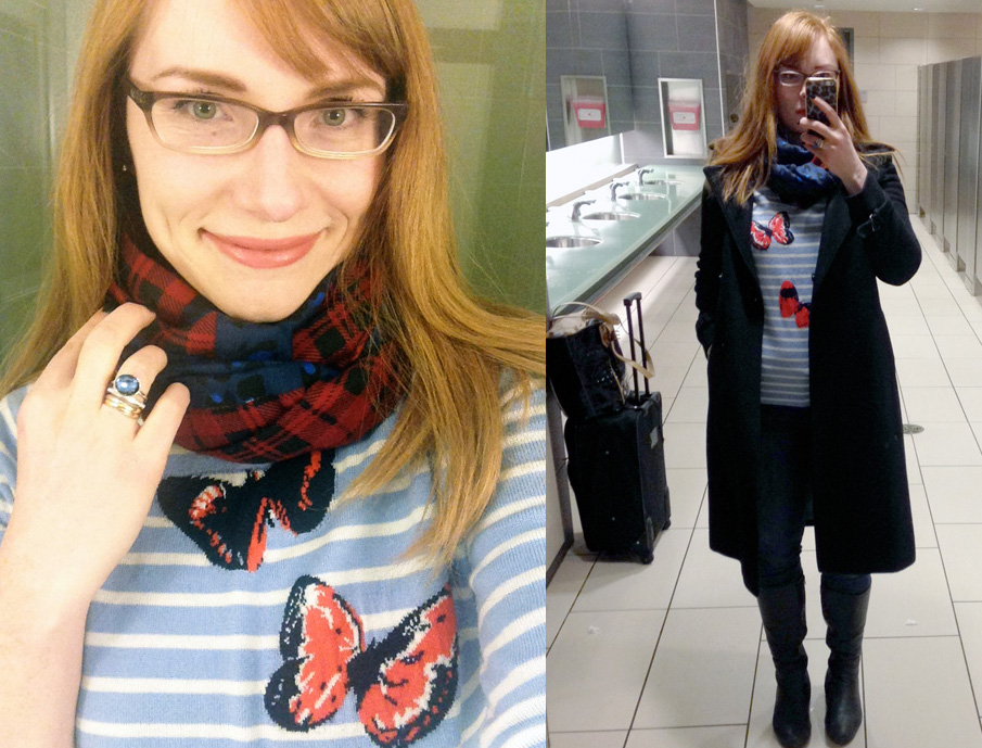 plane outfit; J. Crew butterfly sweater